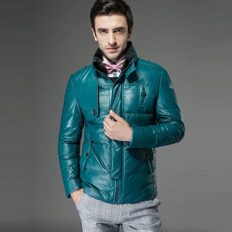 名皮网2013新品英伦风男士高档水貂毛领真皮绵羊皮羽绒外套